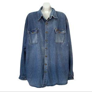 Carhartt Denim Fleece Lined Shirt Jacket Sweater